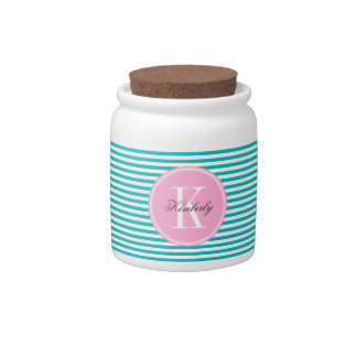 Teal Stripes with Bubblegum Pink Monogram Candy Dish