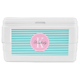 Teal Stripes with Bubblegum Pink Monogram Cooler
