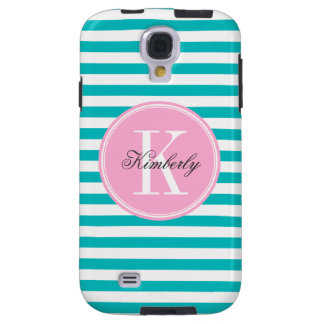 Teal Stripes with Bubblegum Pink Monogram Galaxy S4 Case
