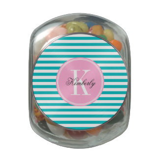 Teal Stripes with Bubblegum Pink Monogram Glass Jars