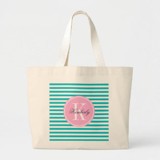 Teal Stripes with Bubblegum Pink Monogram Large Tote Bag