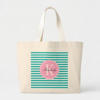 Teal Stripes with Bubblegum Pink Monogram Large Tote Bag