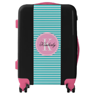 Teal Stripes with Bubblegum Pink Monogram Luggage