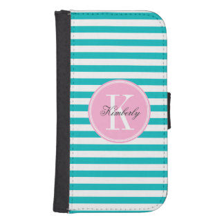 Teal Stripes with Bubblegum Pink Monogram Phone Wallet