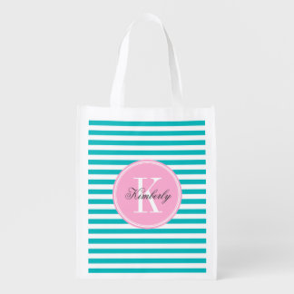 Teal Stripes with Bubblegum Pink Monogram Reusable Grocery Bags