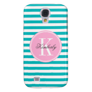 Teal Stripes with Bubblegum Pink Monogram Samsung Galaxy S4 Cover