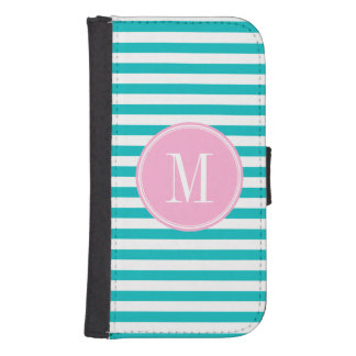 Teal Stripes with Bubblegum Pink Monogram Samsung S4 Wallet Case