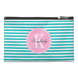 Teal Stripes with Bubblegum Pink Monogram Travel Accessory Bag