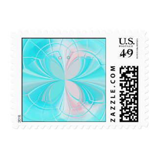 Teal Stylized Butterfly Postage Stamp