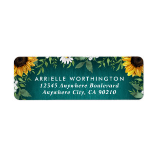 Teal Sunflower Country Rustic  Daisy Wedding Label