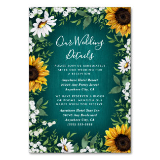 Teal Sunflower Country Rustic Wedding Insert Cards