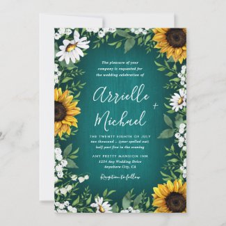 Teal and Sunflower Wedding Invitations, Country Rustic