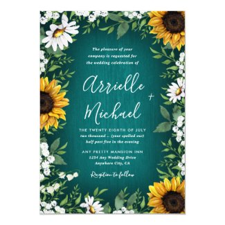 Teal Sunflower Country Rustic Wedding Invitations