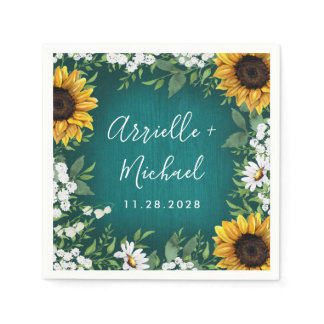Teal Sunflower Country Rustic Wedding Napkins
