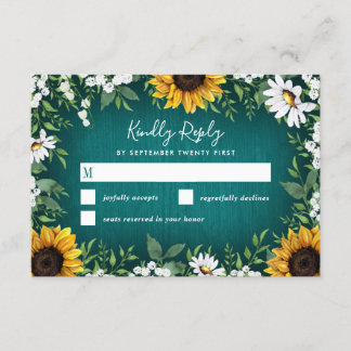 Teal Sunflower Country Rustic Wedding RSVP Cards