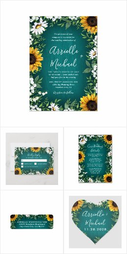 Teal Sunflower Country Wedding Invitations Set