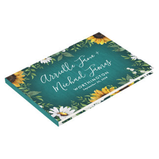 Teal Sunflower Rustic Country Wedding Guest Book