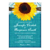 Teal Sunflower Rustic Country Wedding Invites (<em>$2.16</em>)