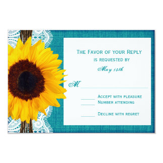 Teal Sunflower Rustic Country Wedding RSVP Cards