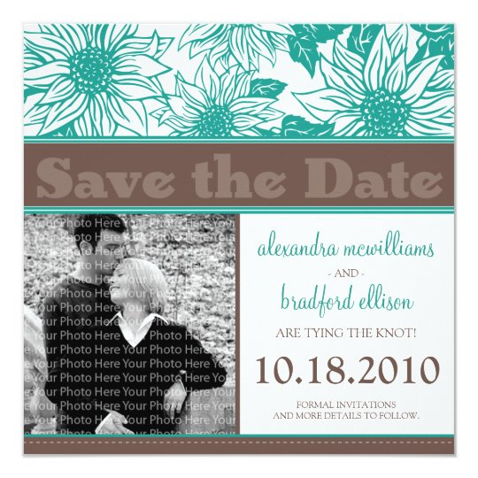Teal Sunflowers Save the Date Announcement