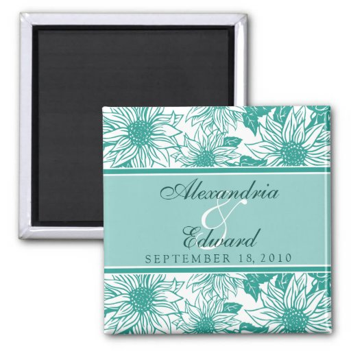 Teal sunflowers wedding favor magnet gift zazzle