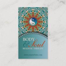 Teal Sunshine New Age Yin Yang Business Card