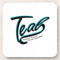 Teal Support Ovarian Cancer Awareness Beverage Coaster