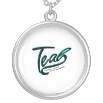 Teal Support Ovarian Cancer Awareness Silver Plated Necklace