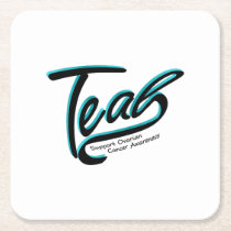 Teal Support Ovarian Cancer Awareness Square Paper Coaster