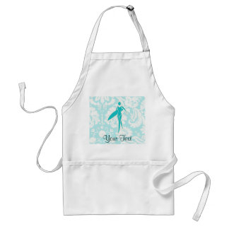 Teal Surfing Girl Adult Apron