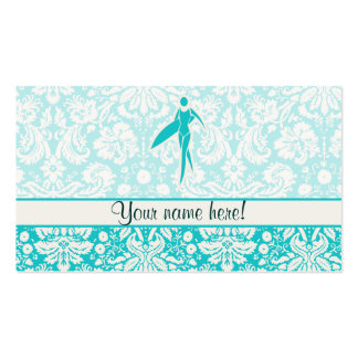 Teal Surfing Girl Business Card