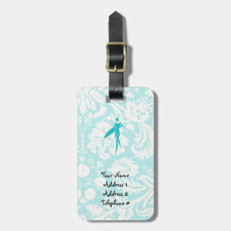 Teal Surfing Girl Luggage Tags