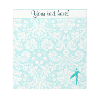 Teal Surfing Girl Notepad
