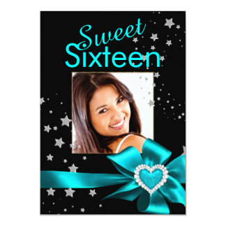 Teal Sweet 16 Birthday Party Heart Photo Stars 5x7 Paper Invitation Card