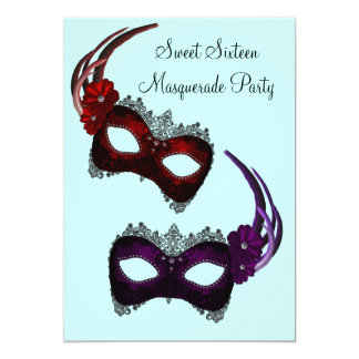 Teal Sweet Sixteen Masquerade Party Card