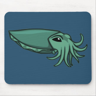 Teal Swimming Cuttlefish Mouse Pad