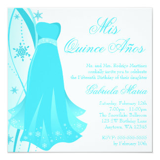 Teal Swirl Dress Winter Wonderland Quinceanera 5.25x5.25 Square Paper Invitation Card