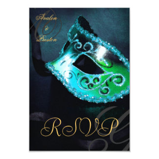 Teal Swirl Masquerade Mask RSVP Invitation