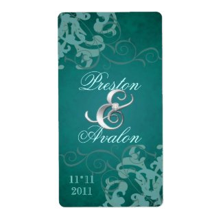 Teal Swirl Silver Jeweled Wedding Wine Label