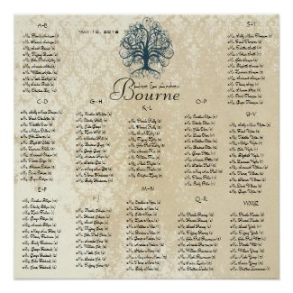 Teal Swirl Tree -100 to 150 guests - alphabetical print