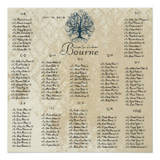 Teal Swirl Tree -100 to 150 guests - alphabetical Poster