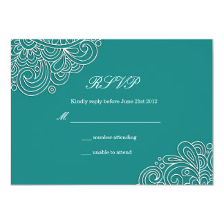 Teal Swirl Wedding RSVP Card
