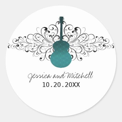Teal Swirls Guitar Wedding Stickers