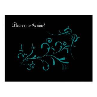 Teal Swirls on Black Postcard