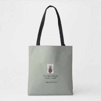 Teal Tabby Kitten Tote Bag