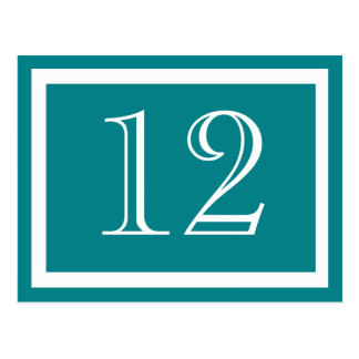 Teal Table Number Cards