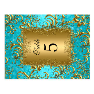Teal Table Number Seating Place Cards Damask