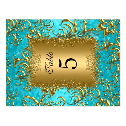 Teal Table Number Seating Place Cards Damask Post Cards