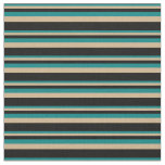 [ Thumbnail: Teal, Tan, and Black Striped Pattern Fabric ]