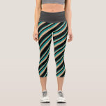 [ Thumbnail: Teal, Tan, and Black Striped Pattern Leggings ]